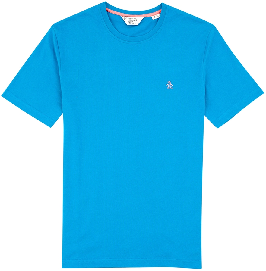 Original penguin t shirt embroidered logo directors blue for Embroidered logos on shirts