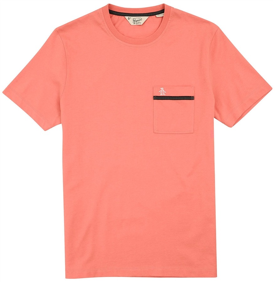 original penguin t shirt tape pocket spiced coral. Black Bedroom Furniture Sets. Home Design Ideas