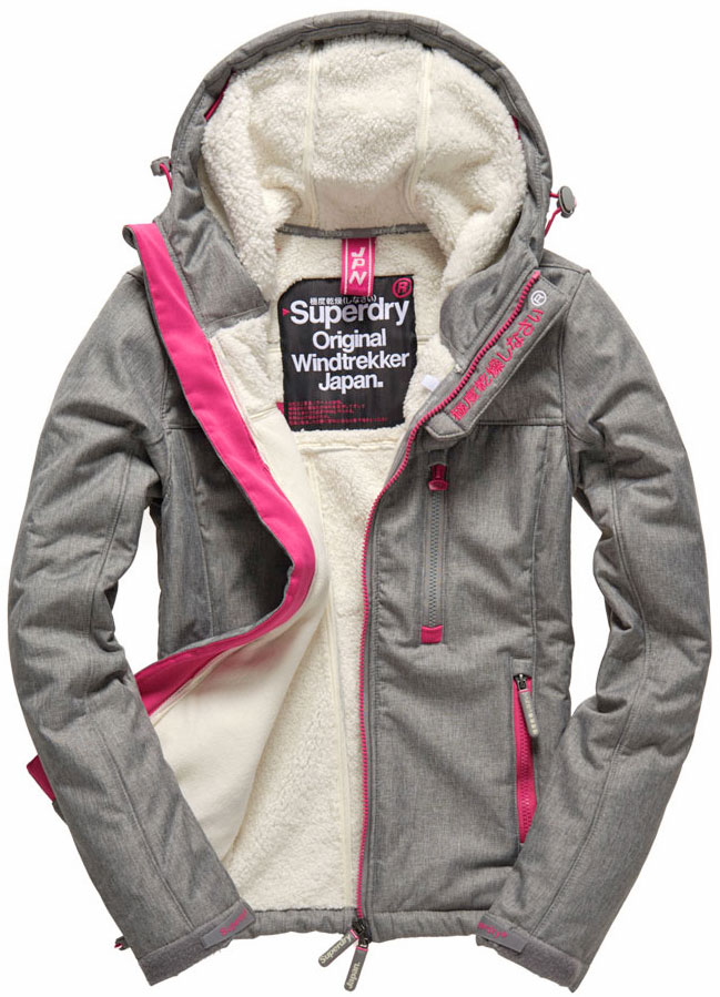 Womens Superdry Hooded Windtrekker In Black Marl Baby Blue Brick Lane Studios York