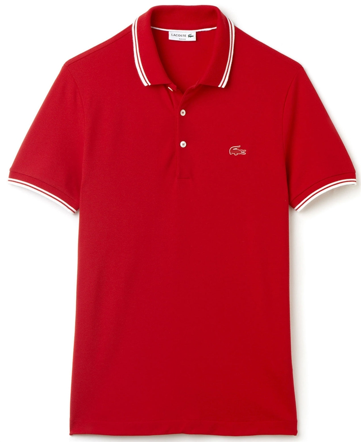 lacoste polo shirt slim fit stretch tipped red white. Black Bedroom Furniture Sets. Home Design Ideas