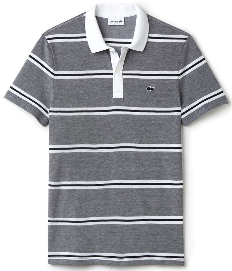 Lacoste polo shirt slim fit pique striped white navy blue for Lacoste stripe pique polo shirt