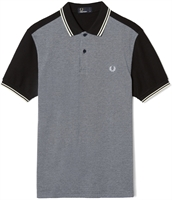 Picture of Fred Perry Polo Shirt Colour Block Textured Pique Black