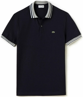 Picture of Lacoste Polo Shirt Pique Stripe Collar Black