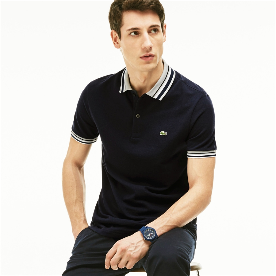 Lacoste polo shirt pique stripe collar black fredericks for Lacoste stripe pique polo shirt
