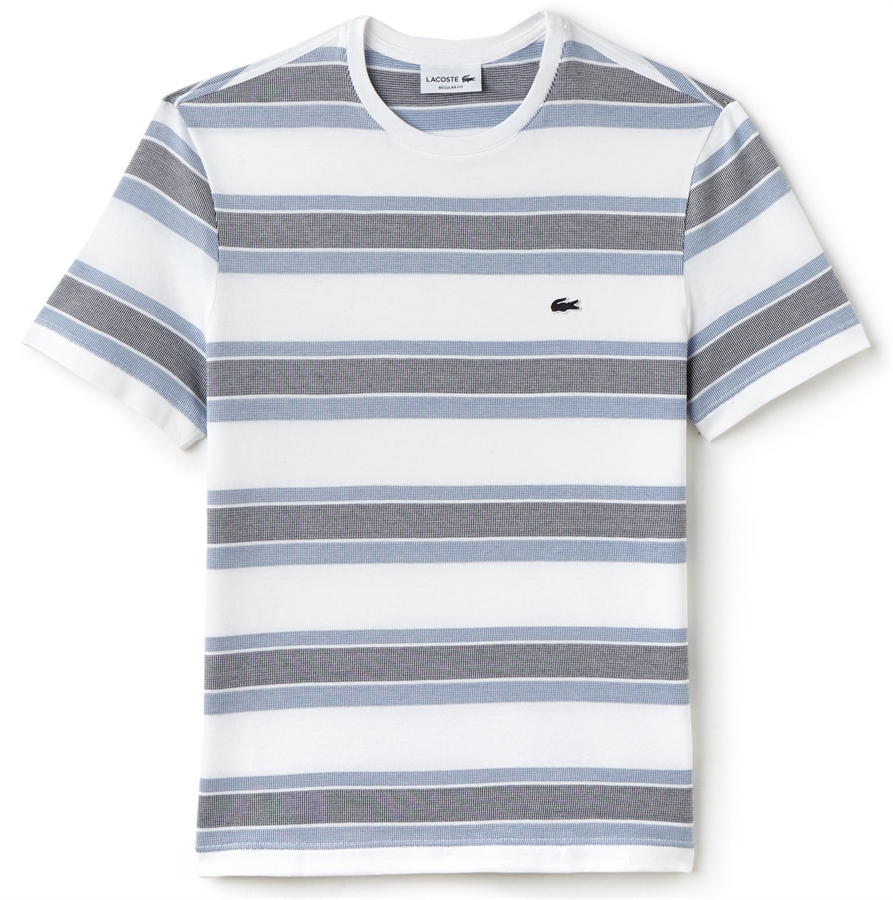 Lacoste T Shirt Jacquard Stripe White Thermal Blue