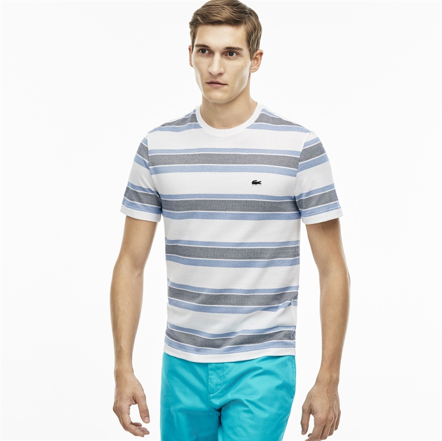Lacoste t shirt jacquard stripe white thermal blue for White thermal t shirt