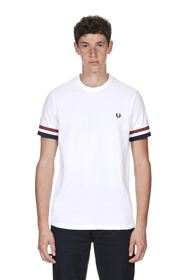 Fred Perry T Shirt Striped Cuff White Fredericks Cleveleys
