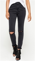 Picture of Superdry Ladies Jeans Sophia Skinny Charcoal Destroy