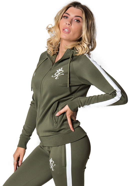 Picture of Gym King Women s GK Poly Zip Through Hoodie Olive White 32c025bf0