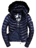 Picture of Superdry Ladies Jacket Hooded Luxe Chevron Fuji Navy Tanzanite