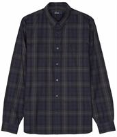 Picture of Fred Perry Shirt Contrast Stripe Tartan Navy