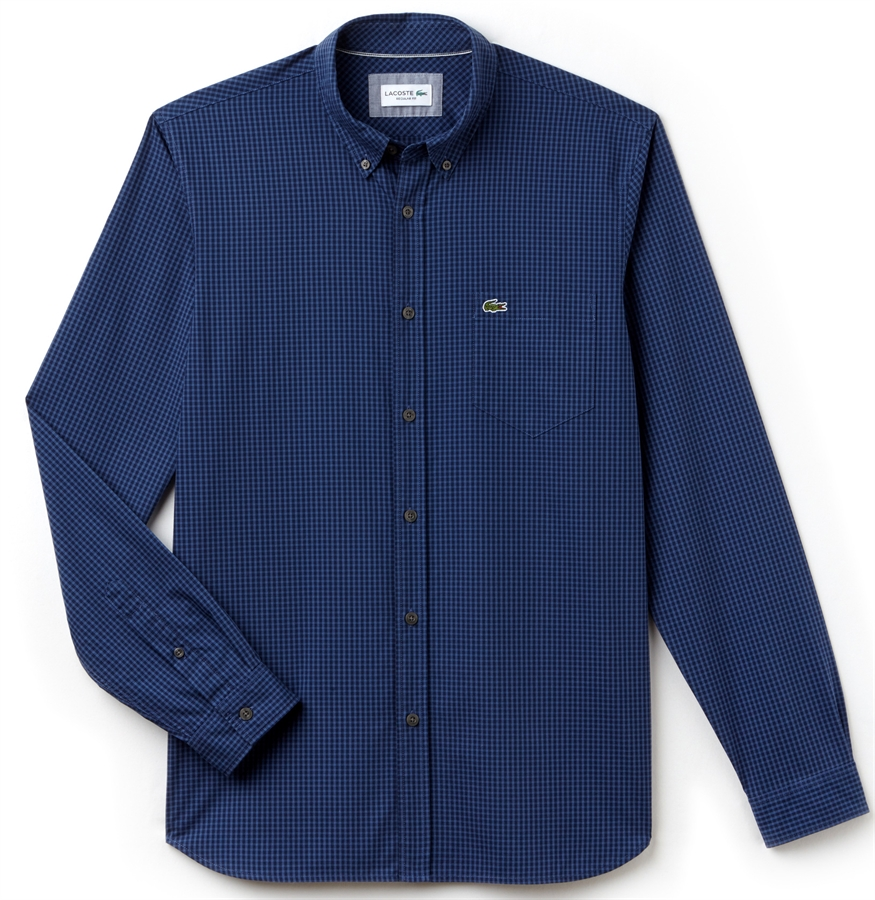 Picture of Lacoste Shirt Motion Regular Fit Check Poplin Navy Blue Iodine 653729aa8f21