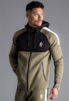 Picture of Gym King Hoody GK Lombardi Zip Through Tracksuit Top Olive/Black/White