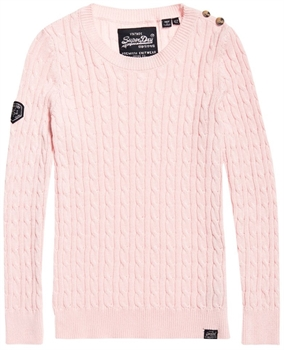 Picture of Superdry Ladies Knitwear Croyde Bay Cable Rose Pink Twist