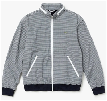 Picture of Lacoste Jacket Gingham Print Zip Navy Blue