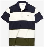 Picture of Lacoste Polo Shirt Colourblock Striped Technical Khaki Green/White/Navy Blue