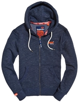 Picture of Superdry Hoody Orange Label Classic Zip Navy Feeder