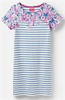 Picture of Joules Dress Riviera Print Blue Floral Stripe