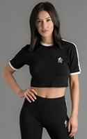 Picture of Gym King Women's GK Ringer Crop Tee Black