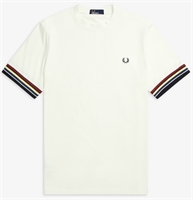 Picture of Fred Perry T-Shirt Stripe Cuff Snow White