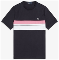 Picture of Fred Perry T-Shirt Striped Chest Panel Navy