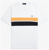 Picture of Fred Perry T-Shirt Striped Chest Panel White