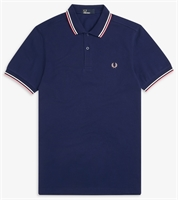 Picture of Fred Perry Polo Shirt M3600 French Navy / Snow White / Bright Pink
