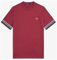 Picture of Fred Perry T-Shirt Stripe Cuff Maroon