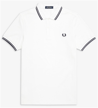 Picture of Fred Perry Polo Shirt M3600 White / Carbon Blue