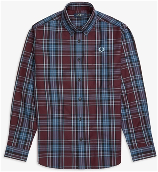 Picture of Fred Perry Shirt Winter Tartan Mahogany