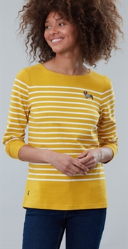 Picture of Joules Top Harbour Embroidered Gold Stripe Dog
