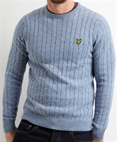 Picture of Lyle & Scott Knitwear Cable Jumper Stone Blue Marl