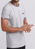 Picture of Superdry T-Shirt Orange Label Cali Ringer Steel Oatmeal Texture