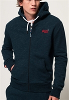 Picture of Superdry Hoody Orange Label Classic Zip Midnight Blue Feeder