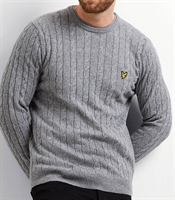 Picture of Lyle & Scott Knitwear Cable Jumper Mid Grey Marl