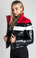 Picture of Gym King Women's GK Retro Puffa Jacket Black/Red/White