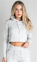 Picture of Gym King Women's GK Sky Hooded Crop Snow Marl