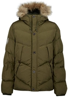 Picture of Pretty Green Jacket Quilted Hooded Parka Khaki