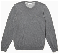 Picture of Lacoste Knitwear Crew Neck Caviar Pique Jumper Grey
