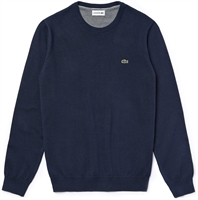 Picture of Lacoste Knitwear Crew Neck Caviar Pique Jumper Navy Blue