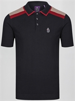 Picture of Luke 1977 Knitted Polo Shirt Town Crier Jet Black Mix