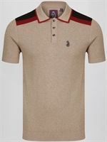 Picture of Luke 1977 Knitted Polo Shirt Town Crier Mrl Oatmeal