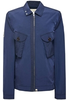 Picture of Pretty Green Jacket Metallic Two Pocket Zip Through Overshirt Navy