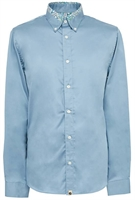 Picture of Pretty Green Shirt Slim Fit Paisley Print Collar Blue