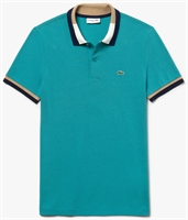 Picture of Lacoste Polo Shirt Slim Fit Contrast Cotton Green/Navy Blue XN3