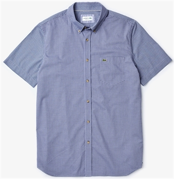 Picture of Lacoste Shirt Regular Fit Gingham Navy Blue X6D