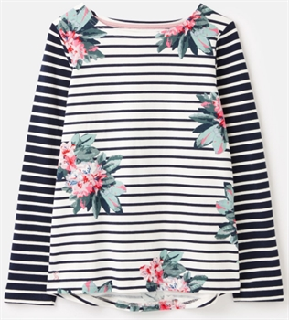 Picture of Joules Top Harbour Print Floral Cream Stripe