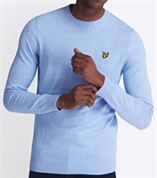 Picture of Lyle & Scott Knitwear Cotton Merino Crew Jumper Pool Blue Marl