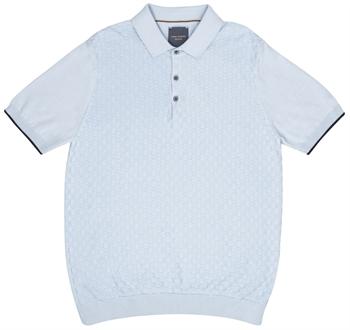 Picture of Guide London Knitted Polo Shirt KW2668 Sky