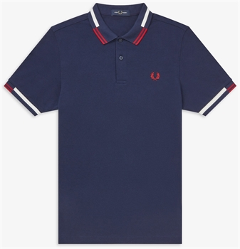 Picture of Fred Perry Polo Shirt Abstract Tipped Carbon Blue